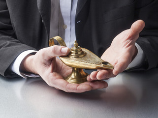 business of story-telling with genie lamp in hands