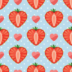 Heart of strawberry berries and hearts in seamless pattern