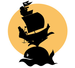 shape of pirats ship and whale - vectors