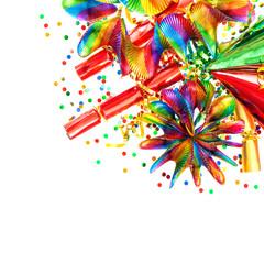 confetti, garlands, streamer. carnival decorations