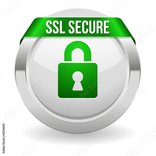 Round ssl secure button with green ribbon