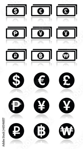 Currency exchange symbols - bank notes and coins icons set