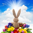 easter bunny with eggs and flowers on blue sky