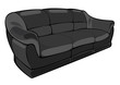 vector cartoon black couch isolated on white background