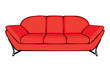 vector cartoon red couch isolated on white background