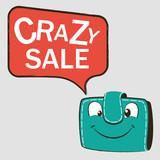 Happy green wallet with Discount. Crazy sale on speech bubble