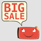 Happy red purse with Discount. Big sale on speech bubble
