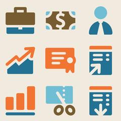 Finance web icons set 1 vintage color series