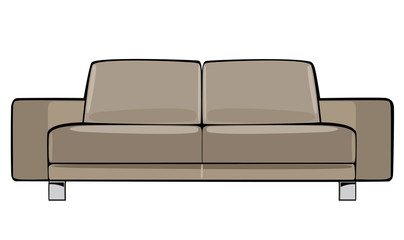 vector cartoon beige couch isolated on white background