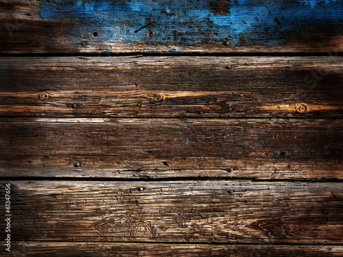 Old Wood Background - blue poured paint vignette and HDR