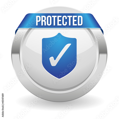 Round protected button with blue ribbon