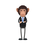 Young business monkey over isolated background.