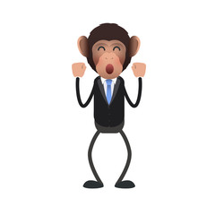 Happy business monkey over isolated background.