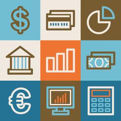 Finance web icons, vintage series
