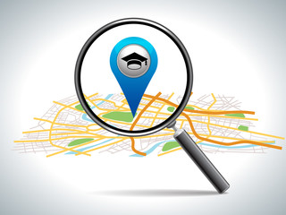search for education on map location, vector illustration