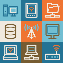 Network web icons, vintage series