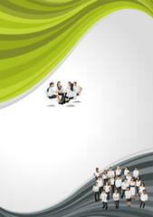 Black and green template for brochure with business people