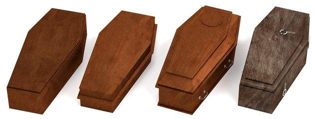 realistic 3d render of coffins