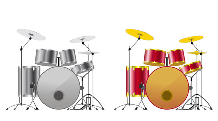 Drum sets.