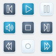 Media player web icon set, square buttons