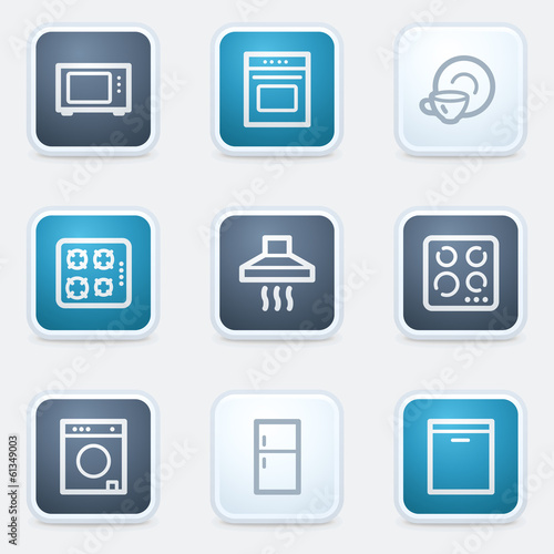 Home appliances web icon set, square buttons