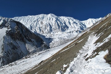 Tilicho Peak and foot path leading to Tilicho Lake