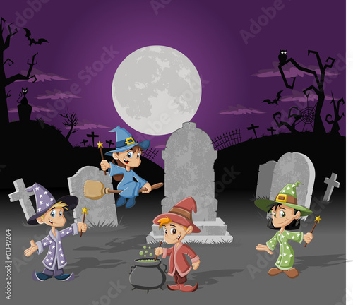 Halloween cemetery with cartoon wizard boys and witch girls.