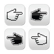 Pixel cursor poiting hands buttons icons