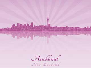 Auckland skyline in purple radiant orchid