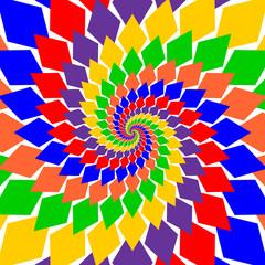 Design multicolor twirl rotation background. Abstract diamond ge