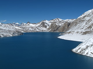 Beautiful turqouise Lake Tilicho, Annapurna Conservation Area