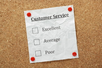 Customer Service Tick Boxes on a cork notice board