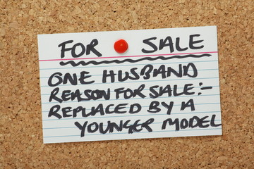 Husband For Sale on a cork notice board