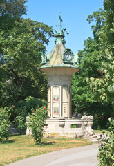 A pillar of the clock. Stadtpark. Vienna. Austria
