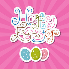 Happy Easter Paper Retro Pink Background