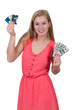 Woman Holding 100 Dollar Bills and Credit cards