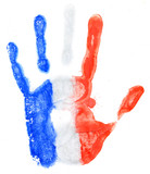 Handprint of a France flag on a white
