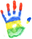 Handprint of a Mauritius flag on a white