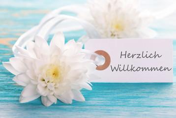 Banner with Herzlich Willkommen