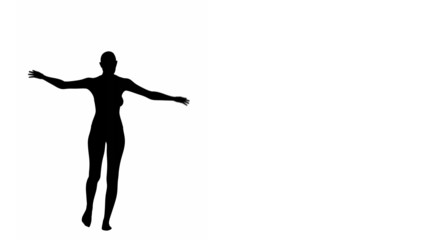 Silhouette of a woman balancing on a tightrope.