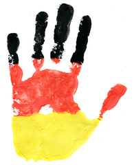 Handprint of a German flag on a white