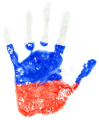 Handprint of a Russian flag on a white