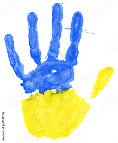 Handprint of a Ukrainian flag on a white