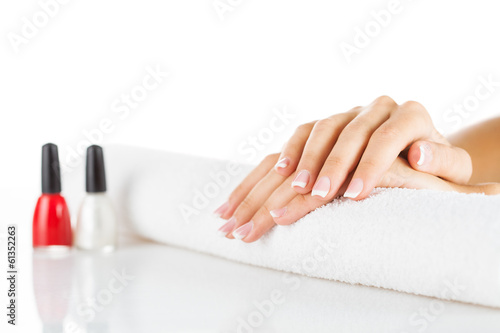Beauty treatment photo of nice manicured woman palms