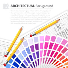 House plan drawing, color guide and pensils