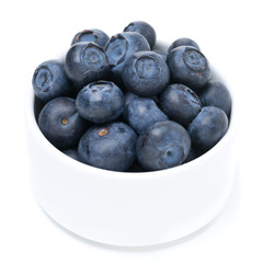 bowl with fresh blueberries, close-up, isolated