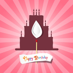 Birthday Background Illustration with Cake Silhouette