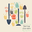 Set of colorful hand drawn spring flowers and garden tools