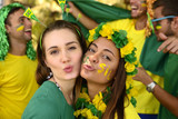 Brazilian girls soccer fans commemorating victory.