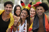 German sport soccer fans celebrating victory.
